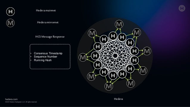 Hedera mainnet Hedera mirrornet • Consensus Timestamp • Sequence Number • Running Hash Hedera HCS Message Response