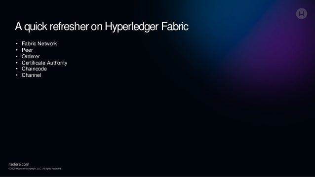 A quick refresher on Hyperledger Fabric • Fabric Network • Peer • Orderer • Certificate Authority • Chaincode • Channel