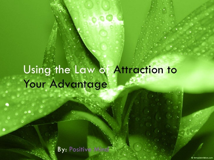 Using the Law of  Attraction to Your Advantage   By:  Positive Mind