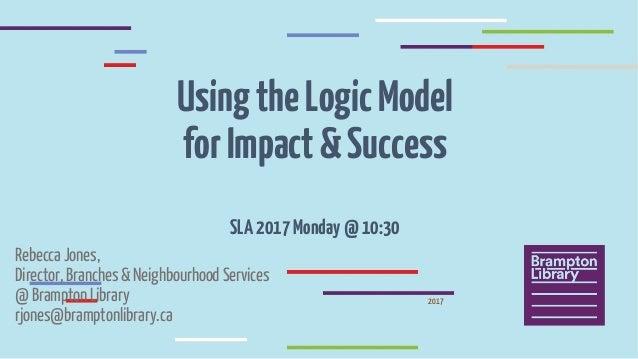 UsingtheLogicModel forImpact&Success SLA2017Monday@10:30 Rebecca Jones, Director, Branches & Neighbourhood Services @ Bram...