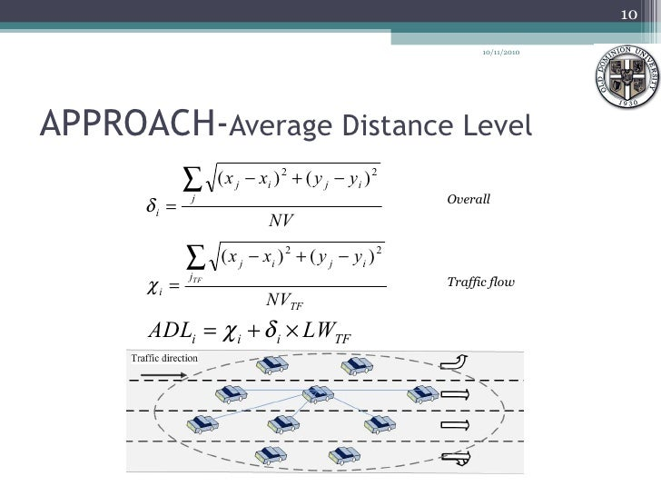 APPROACH- Average Distance Level Overall Traffic flow 10/11/2010