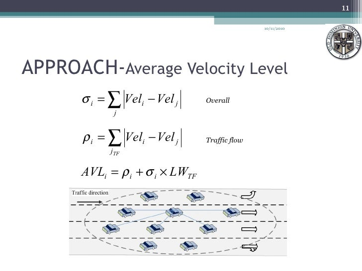 APPROACH- Average Velocity Level Overall Traffic flow 10/11/2010