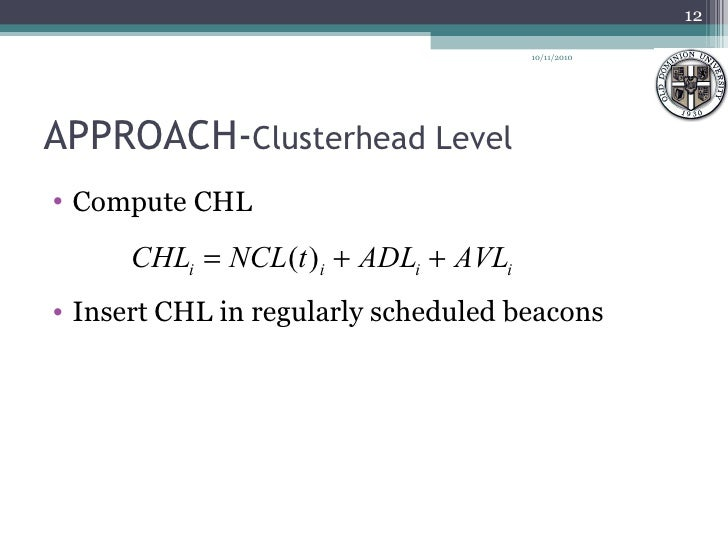 APPROACH- Clusterhead Level <ul><li>Compute CHL </li></ul><ul><li>Insert CHL in regularly scheduled beacons </li></ul>10/1...