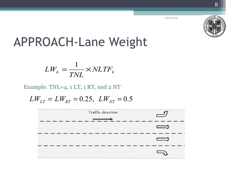 APPROACH-Lane Weight <ul><ul><li>Example: TNL=4, 1 LT, 1 RT, and 2 NT </li></ul></ul>10/11/2010