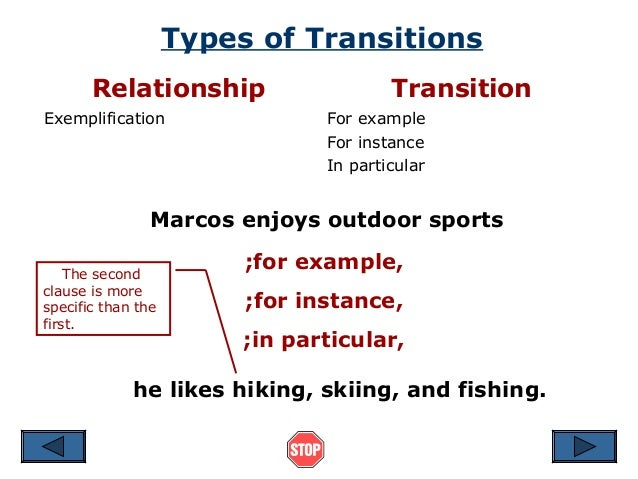 Exemplification Essay Transitions — Using Transitional Words and Phrases