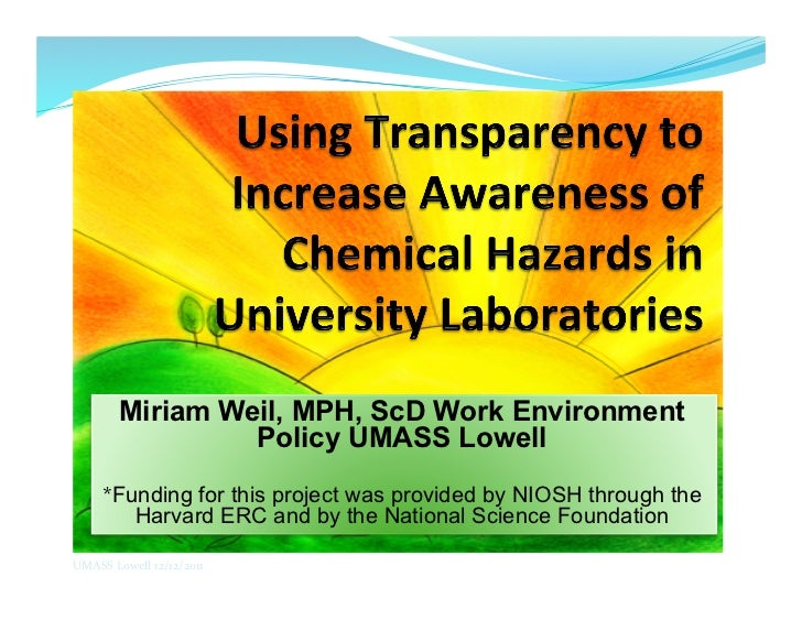 Miriam Weil, MPH, ScD Work Environment                    Policy UMASS Lowell       *Funding for this project was provided...