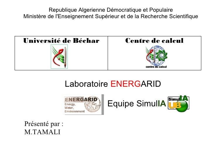 Republique Algerienne Démocratique et PopulaireMinistère de lEnseignement Supérieur et de la Recherche ScientifiqueUnivers...