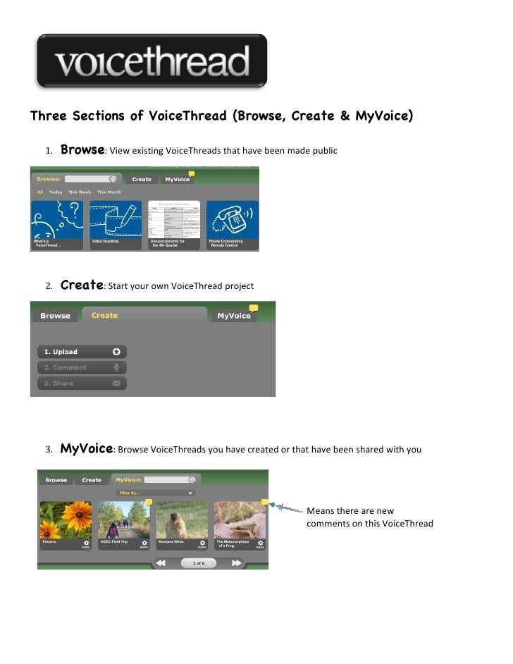 Three Sections of VoiceThread (Browse, Create & MyVoice)  1.   Browse: View existing VoiceThreads that have been made publ...