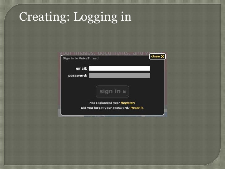 Creating: Logging in<br />