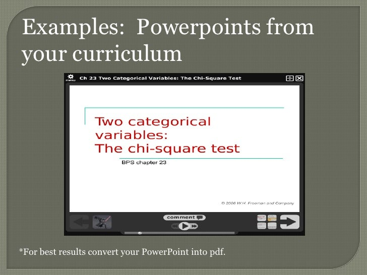 Examples:  Powerpoints from your curriculum<br />*For best results convert your PowerPoint into pdf.<br />