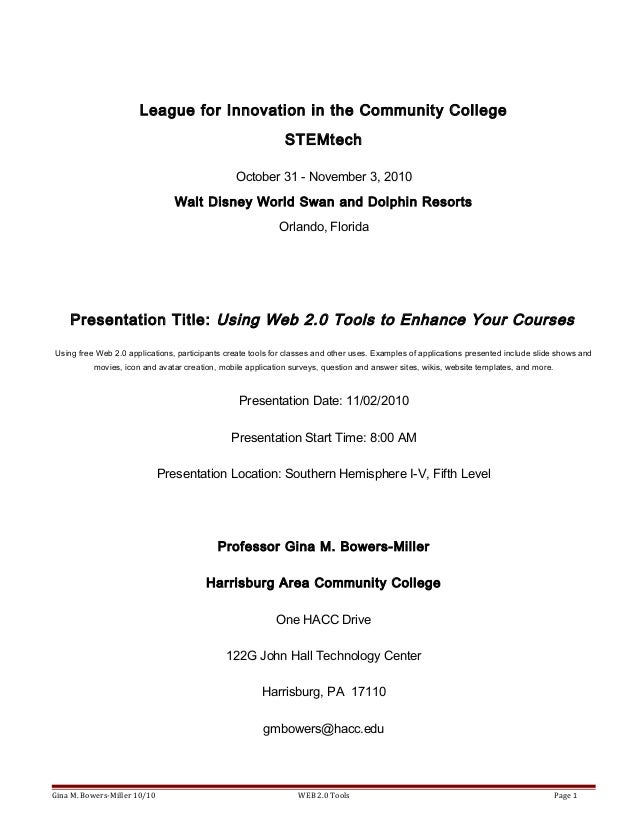 League for Innovation in the Community College STEMtech October 31 - November 3, 2010 Walt Disney World Swan and Dolphin R...