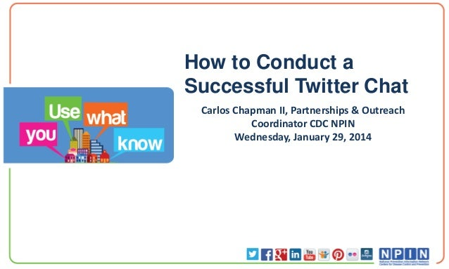 How to Conduct a Successful Twitter Chat Carlos Chapman II, Partnerships & Outreach Coordinator CDC NPIN Wednesday, Januar...