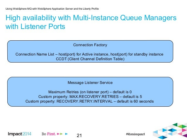 21 High availability with Multi-Instance Queue Managers with Listener Ports Using WebSphere MQ with WebSphere Application ...