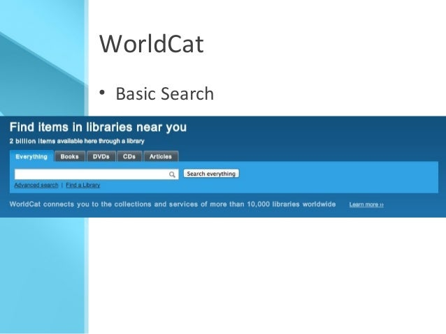 Advanced search [WorldCat.org] - WorldCat.org: The World's ...