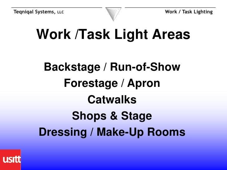 USITT 2012 session - Work & Task Lighting Slide 3