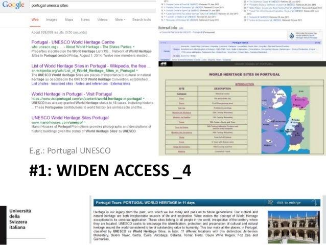 #1: WIDEN ACCESS _4 E.g.: Portugal UNESCO