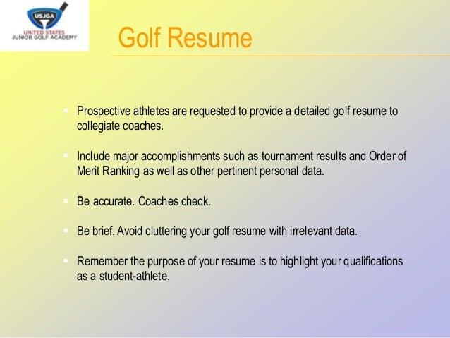 Golf Resume Prospective ...