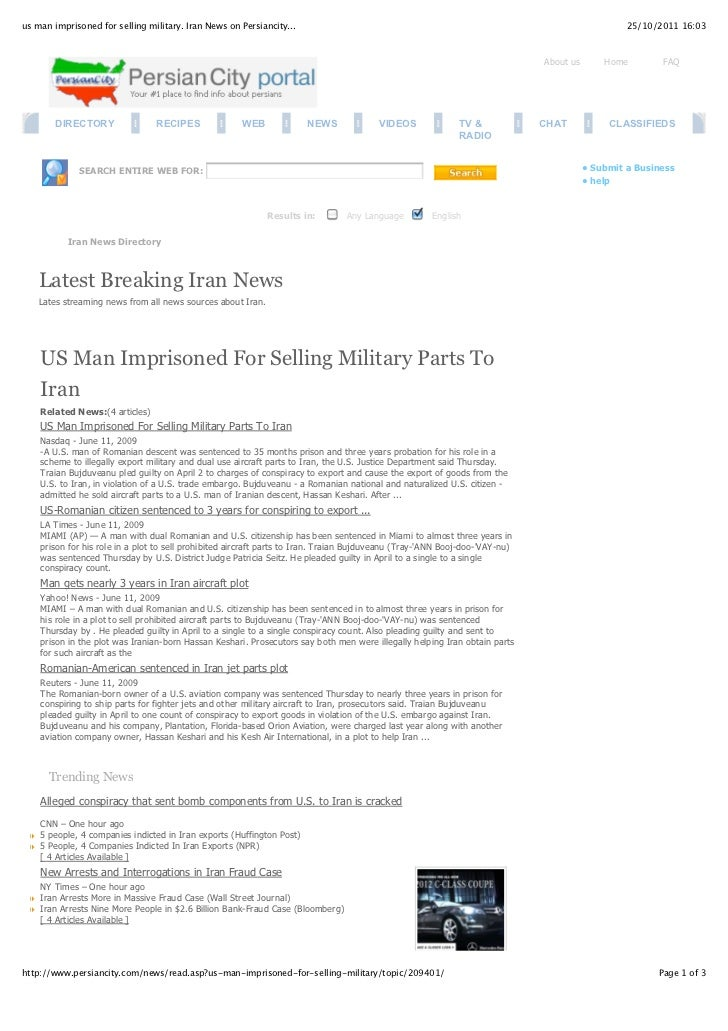 us man imprisoned for selling military. Iran News on Persiancity...                                                       ...