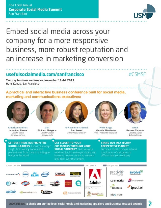 The Third Annual Corporate Social Media Summit San Francisco Embed social media across your company for a more responsive ...