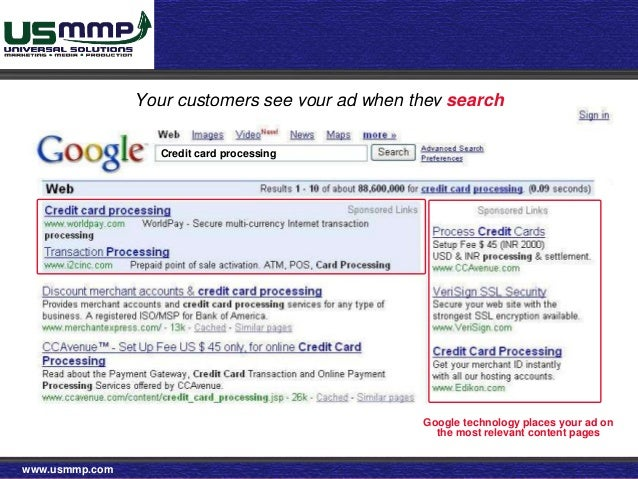 Usmmp ppc google yahoo bing etc your customers see your ad when they search credit card processing google technology places your ad reheart Gallery