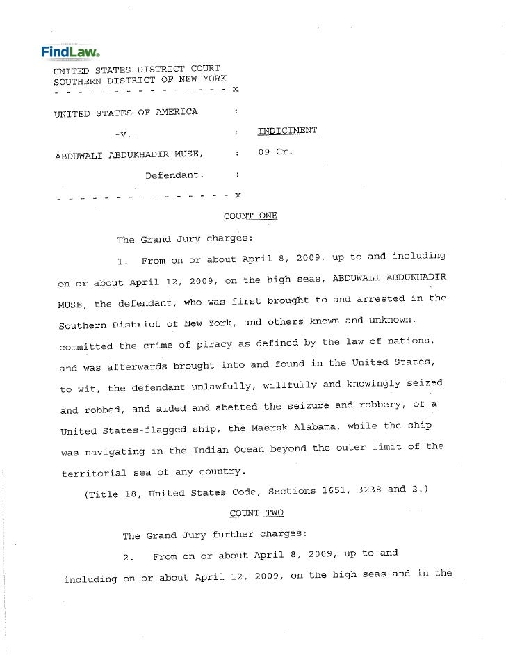FindLaw | Indictment of Piracy Suspect from Somalia