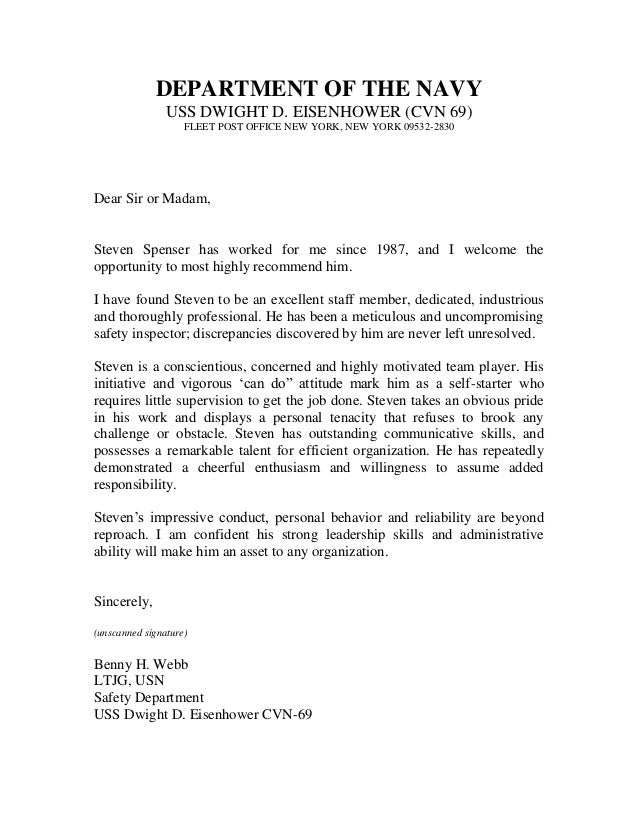 US Navy Letter Of Recommendation