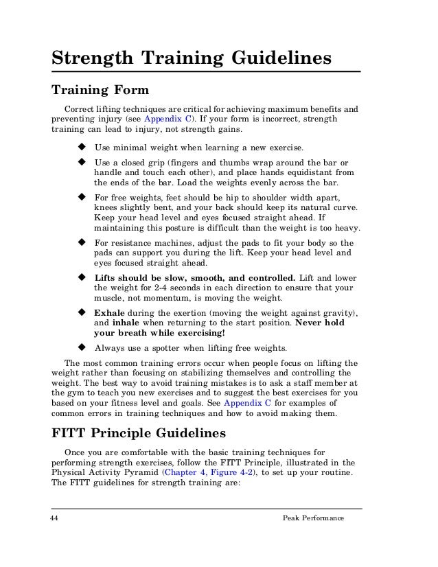 UsNavy Nutrition Excercise – Fitt Principle Worksheet