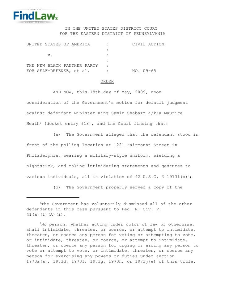 IN THE UNITED STATES DISTRICT COURT               FOR THE EASTERN DISTRICT OF PENNSYLVANIA  UNITED STATES OF AMERICA      ...