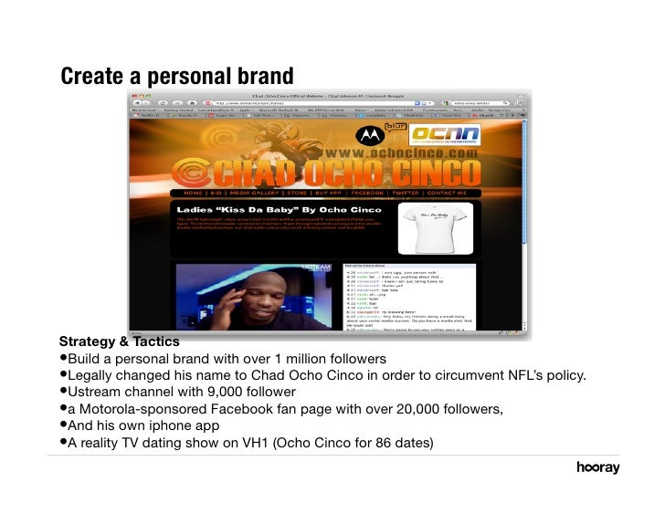 Create a personal brand      Strategy & Tactics •Build a personal brand with over 1 million followers •Legally changed h...