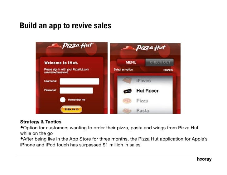 Build an app to revive sales     Strategy & Tactics •Option for customers wanting to order their pizza, pasta and wings f...