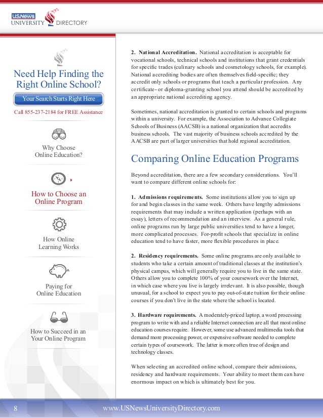 U S News University Directory Guide to Online Education