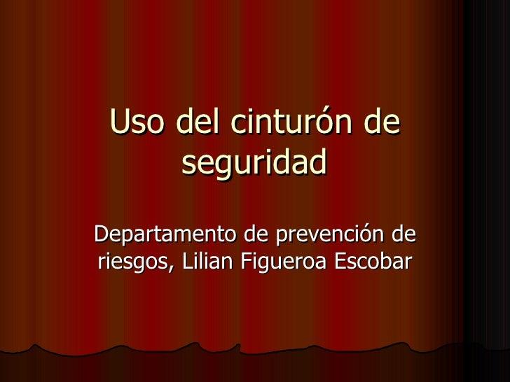 Uso del cinturón de seguridad Departamento de prevención de riesgos, Lilian Figueroa Escobar