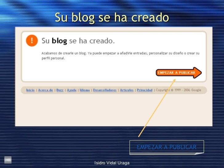 Su blog se ha creado EMPEZAR A PUBLICAR
