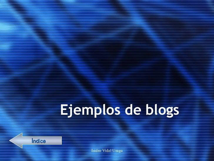 Ejemplos de blogs Índice
