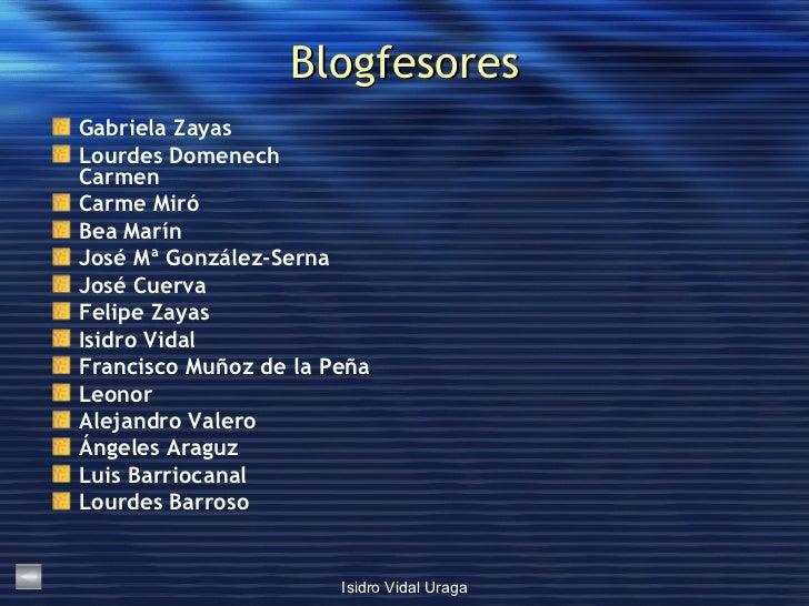 Blogfesores <ul><li>Gabriela  Zayas </li></ul><ul><li>Lourdes  Domenech Carmen </li></ul><ul><li>Carme Miró </li></ul><ul>...
