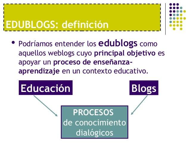 EDUBLOGS: definición    Podríamos entender los edublogs como     aquellos weblogs cuyo principal objetivo es     apoyar u...
