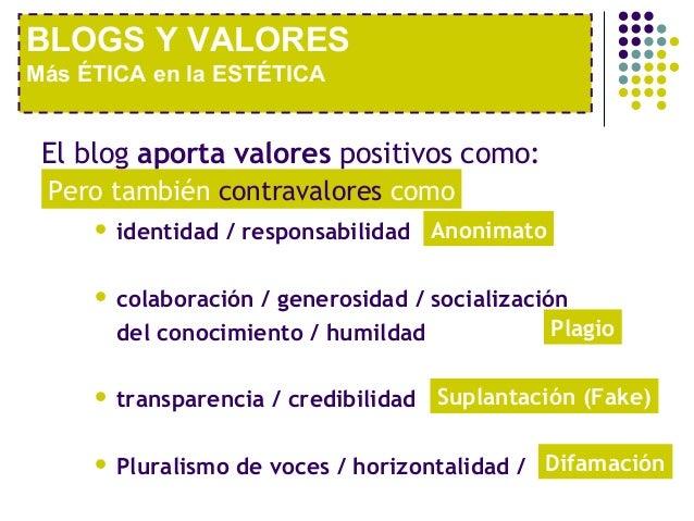 BLOGS Y VALORESMás ÉTICA en la ESTÉTICA El blog aporta valores positivos como: Pero también contravalores como        ide...
