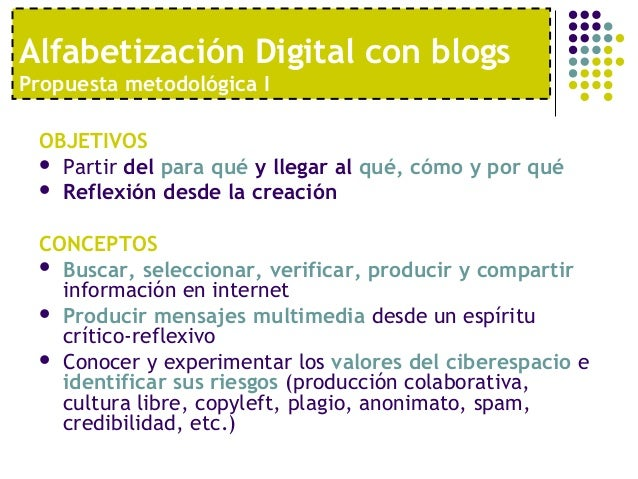 Alfabetización Digital con blogsPropuesta metodológica I OBJETIVOS  Partir del para qué y llegar al qué, cómo y por qué ...