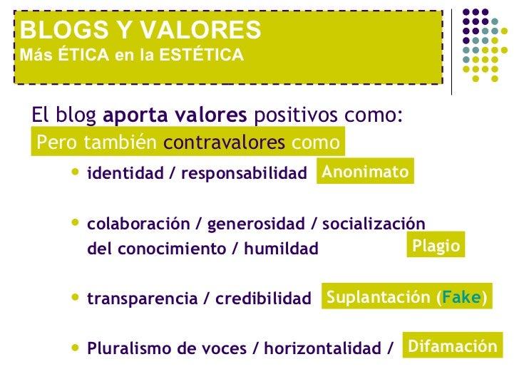 <ul><li>El blog  aporta valores  positivos como:  </li></ul><ul><ul><ul><li>identidad / responsabilidad </li></ul></ul></u...