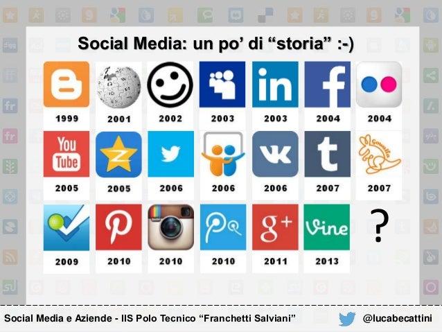"""Social Media: un po' di """"storia"""" :-) ? Social Media e Aziende - IIS Polo Tecnico """"Franchetti Salviani"""" @lucabecattini"""