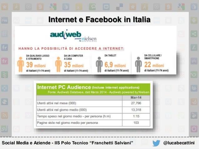 """Internet e Facebook in Italia Social Media e Aziende - IIS Polo Tecnico """"Franchetti Salviani"""" @lucabecattini"""