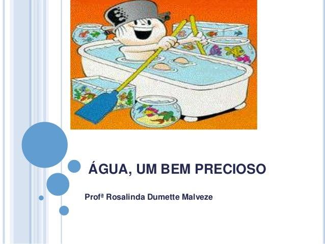 ÁGUA, UM BEM PRECIOSO  Profª Rosalinda Dumette Malveze