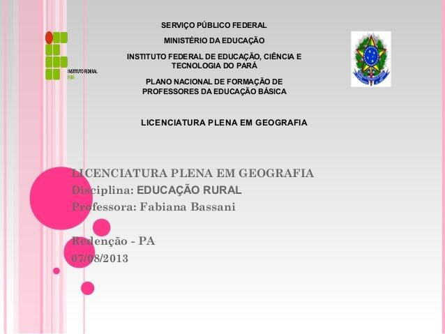 SERVIÇO PÚBLICO FEDERAL MINISTÉRIO DA EDUCAÇÃO INSTITUTO FEDERAL DE EDUCAÇÃO, CIÊNCIA E TECNOLOGIA DO PARÁ PLANO NACIONAL ...