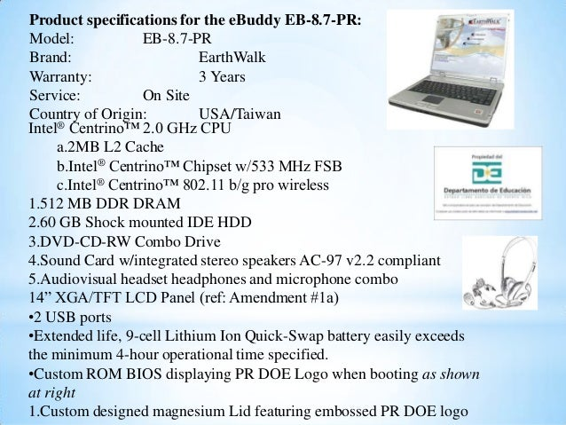 Product specifications for the eBuddy EB-8.7-PR: Model: EB-8.7-PR Brand: EarthWalk Warranty: 3 Years Service: On Site Coun...