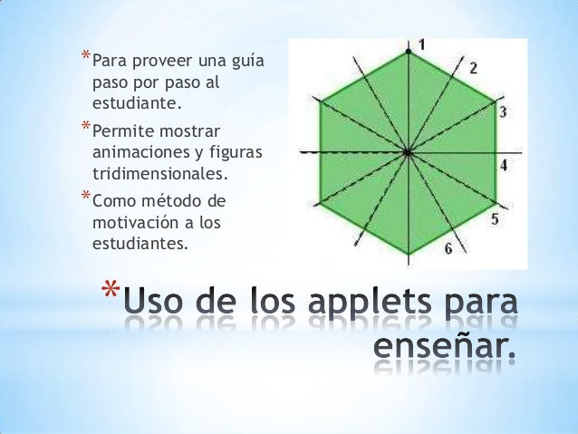 * *Para proveer una guía paso por paso al estudiante. *Permite mostrar animaciones y figuras tridimensionales. *Como métod...