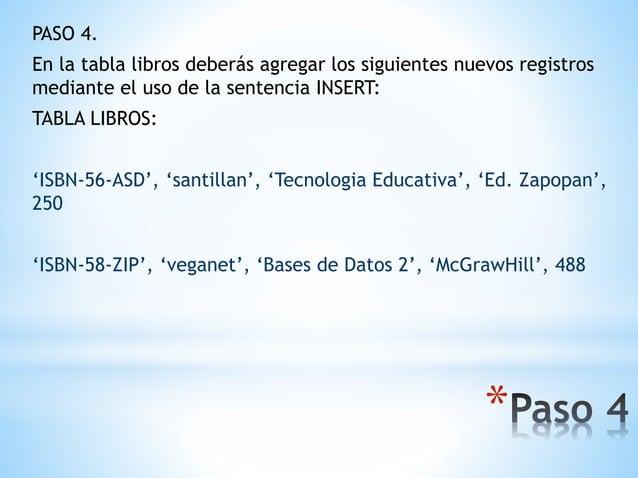 * PASO 4. En la tabla libros deberás agregar los siguientes nuevos registros mediante el uso de la sentencia INSERT: TABLA...