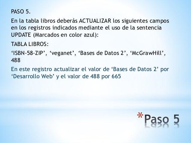 * PASO 5. En la tabla libros deberás ACTUALIZAR los siguientes campos en los registros indicados mediante el uso de la sen...