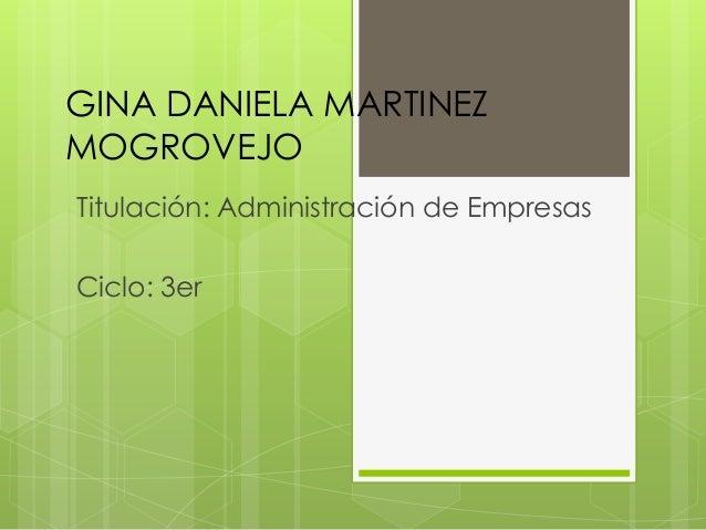 GINA DANIELA MARTINEZ MOGROVEJO Titulación: Administración de Empresas Ciclo: 3er