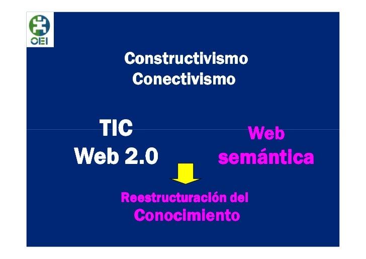Constructivismo     Conectivismo TIC                  WebWeb 2.0           semántica   Reestructuración del     Conocimiento
