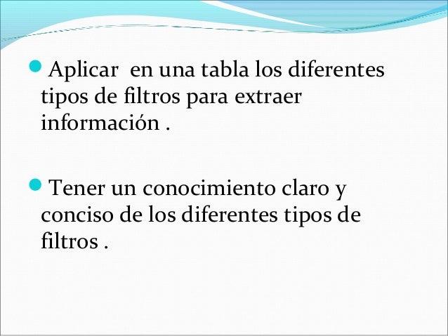 Aplicar en una tabla los diferentes tipos de filtros para extraer información . Tener un conocimiento claro y conciso de...